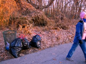 Clove Lakes Cleanup At Royal Oaks On Horse Trail By Assertive Kids. Three More Bags of Trash!