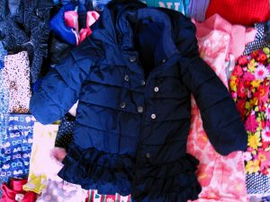 Girls Puffy Blue Ruffle-Bottom Warm Coat For Donation